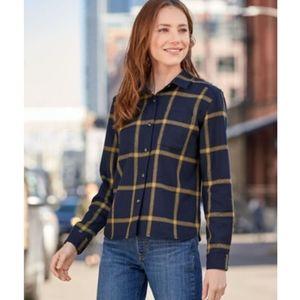 Pendleton Cropped Virgin Wool Shirt Navy Plaid